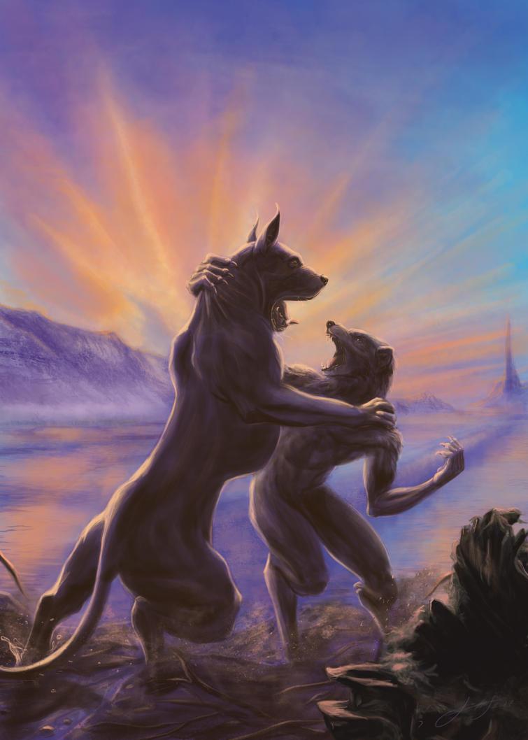 Huan vs Sauron by soys