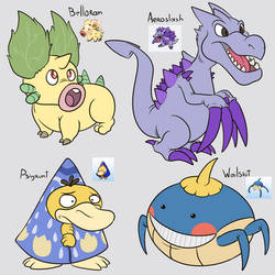 Some Pokefusions by Sloth-Power
