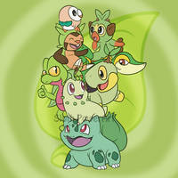 Pokemon Grass Type Pile by Sloth-Power