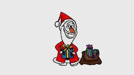 Olaf being Santa by TortallMagic