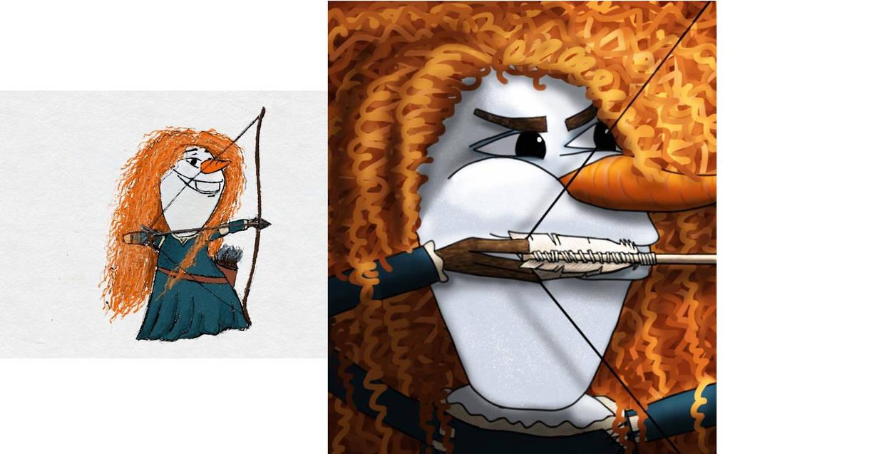 Redrawing Olaf as Merida