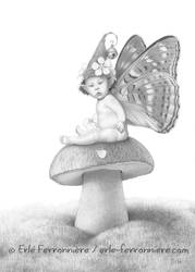 Faery baby on a mushroom (drawing)