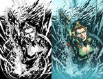 AQUAMAN cover - inks and color sample