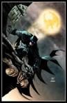 Batman on the gargoyle by Ken Hunt colored