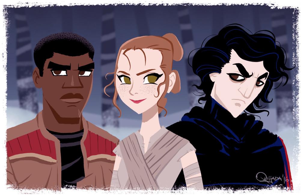 - Star Wars - Rei, Finn and Kylo by sergio-quijada
