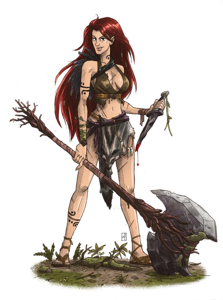 half elf barbarian by mscorley on deviantart