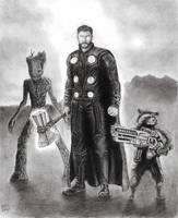 Thor, Groot, Rocket by smokey-vee