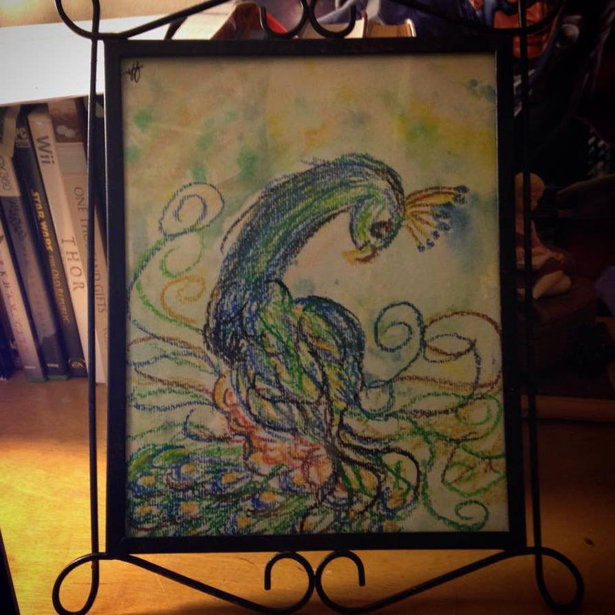 Oil Pastel Peacock by AbbyCatWolff