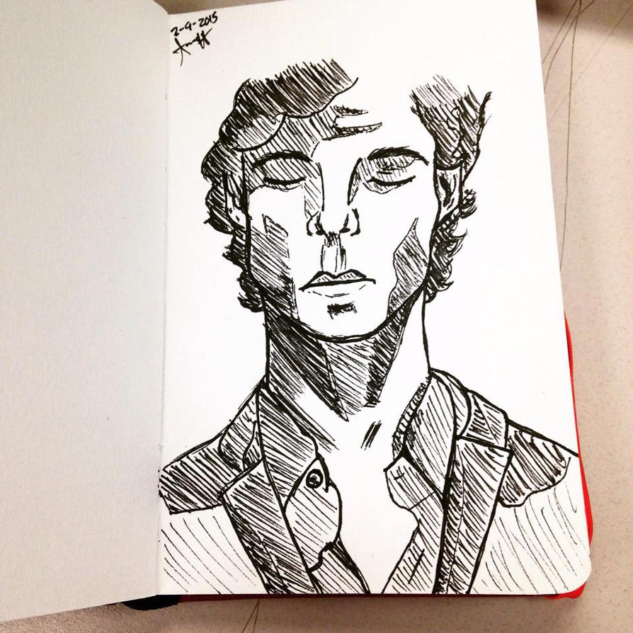 Sherlock Pen Drawing by AbbyCatWolff