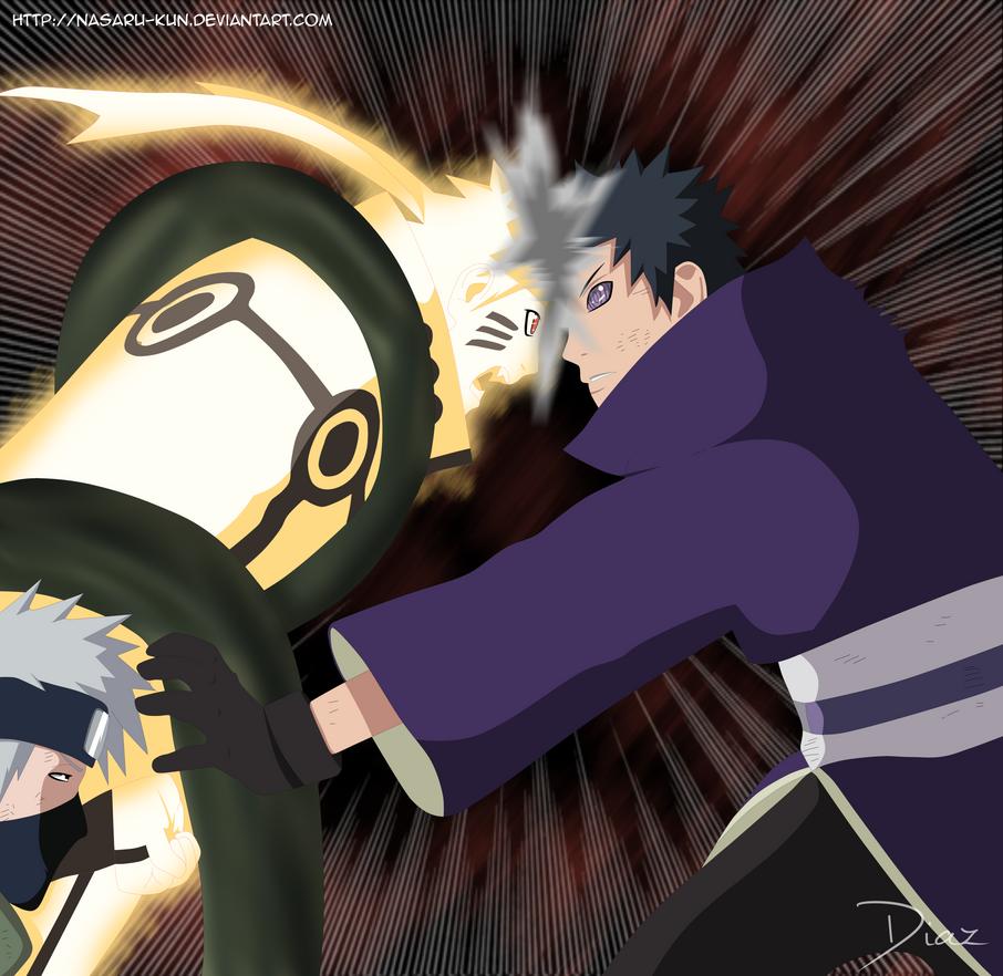 Naruto y Kakashi vs Obito Tobi   Manga 609   by Nasaru-KunObito Vs Kakashi Manga