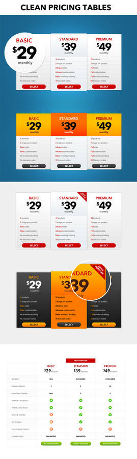 Pricing table (PSD)