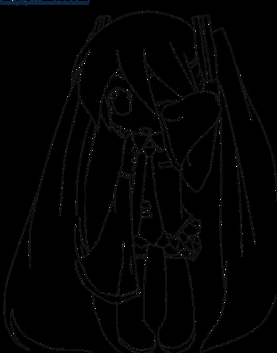 lineart chibi miku by maskbone on deviantart - Hatsune Miku Chibi Coloring Pages