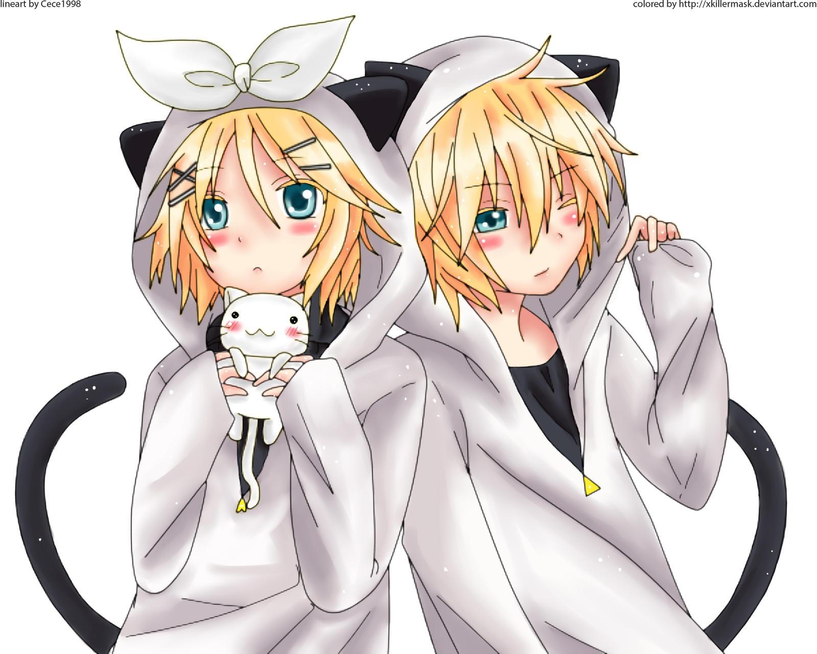 Vocaloid Chibi Rin y Len Neko Kagamine Rin And Len Neko