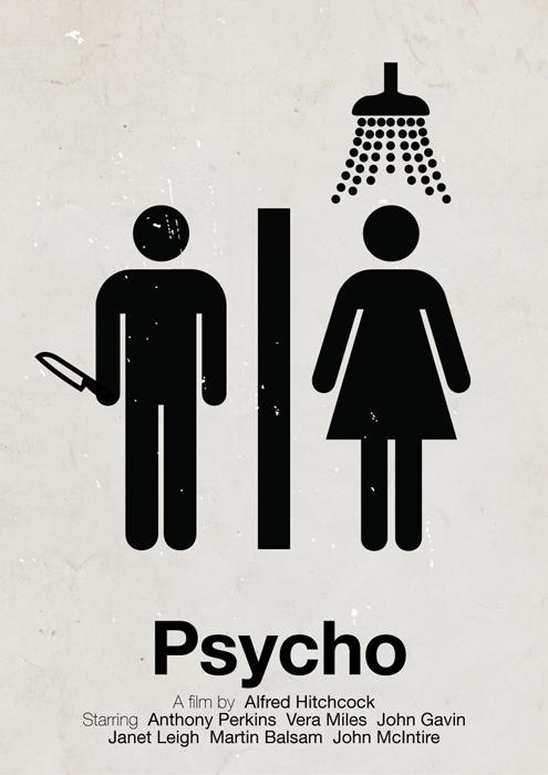 Psycho pictogram movie poster by Hertzen