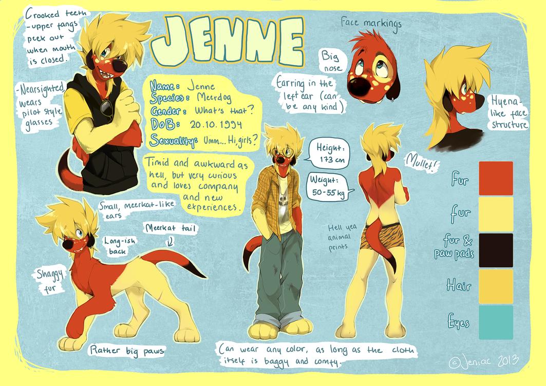 Jenne - fursona reference by Jeniak