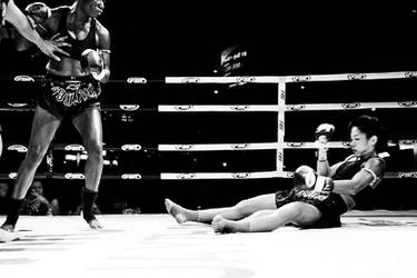 Janice hits the floor hard after knockout punch by freddobbs