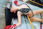 Knocked unconscious and thru the ropes