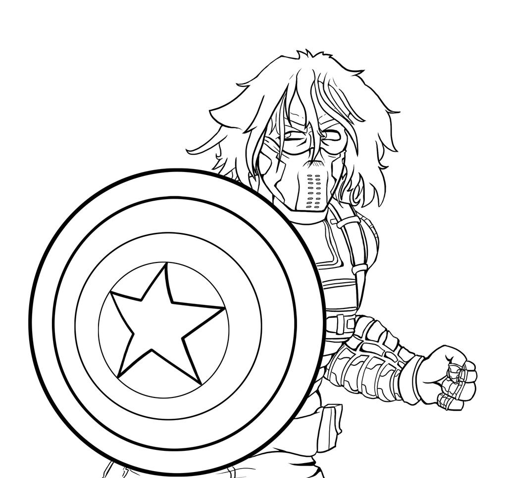 Bucky coloring pages ~ Winter Soldier Line Art by DarksiderXZero on DeviantArt