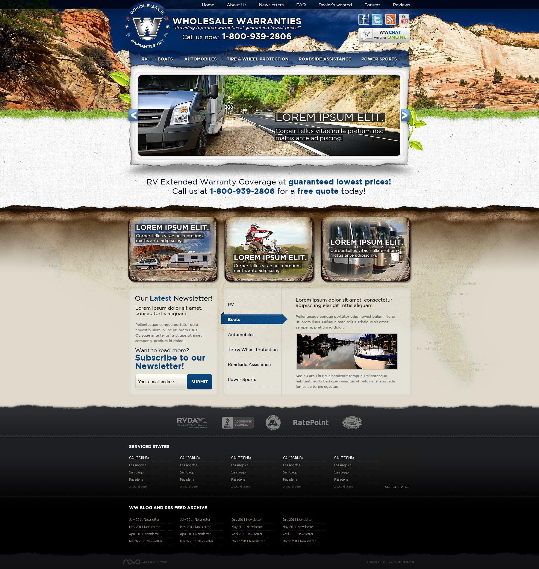 Web Design: Wholesale Warranties by VictoryDesign