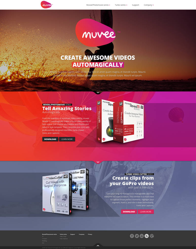 Web design: Muvee - home