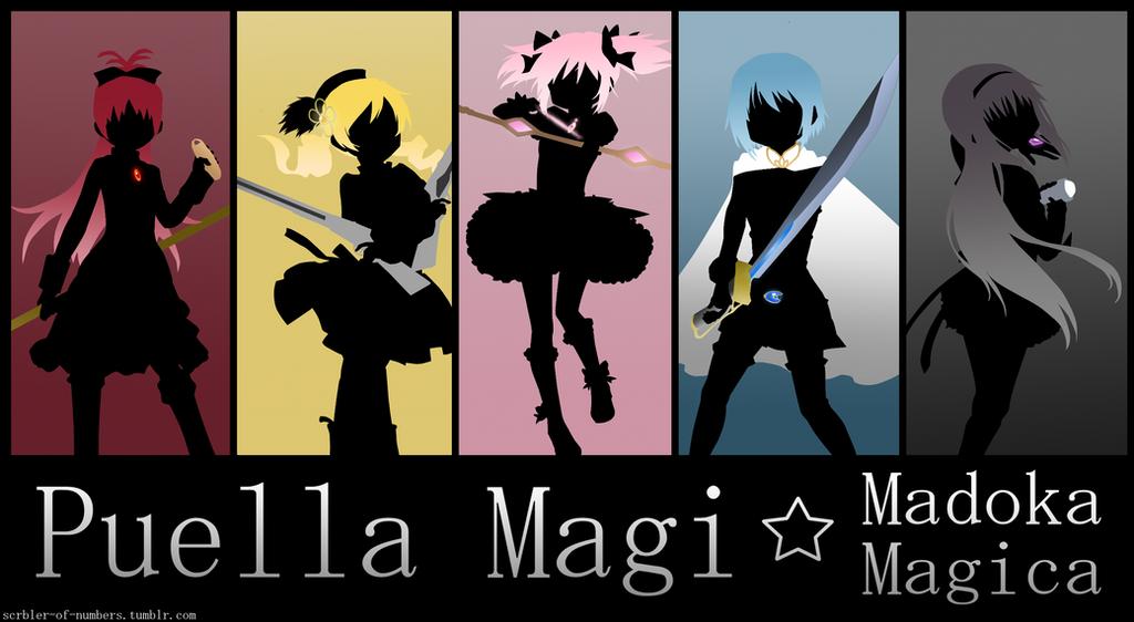 Puella Magi Madoka Magica Silhouettes by scrble567