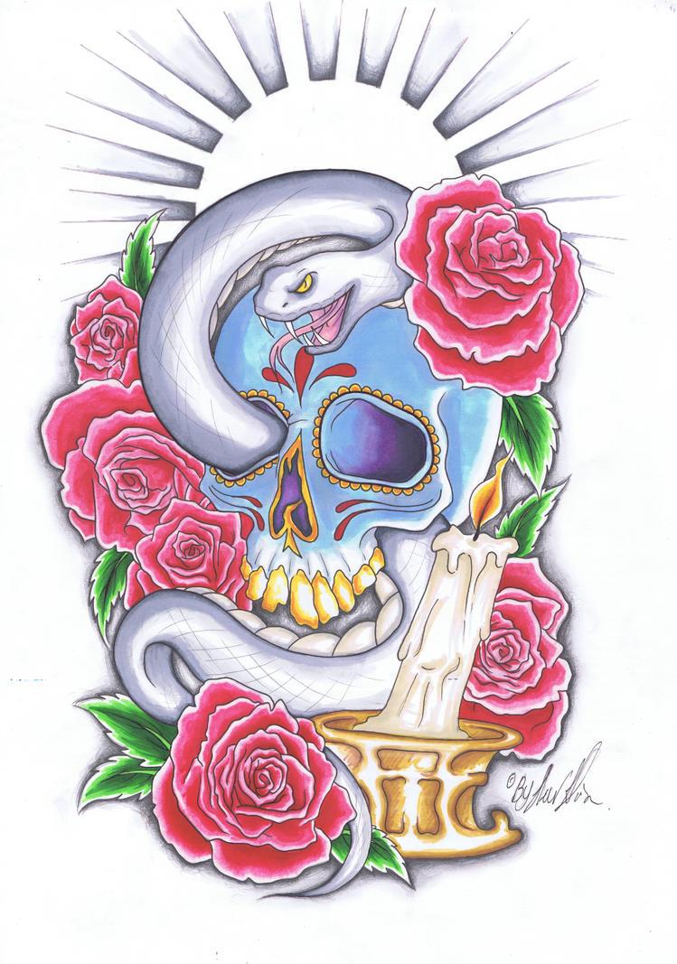 Sugar skull style tattoo design by pixiemeat96 on deviantart