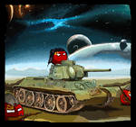 Russian T-34 tank in the Space