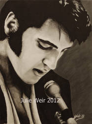 Elvis Presley Acrylic on canvas board A3 by Joolzie