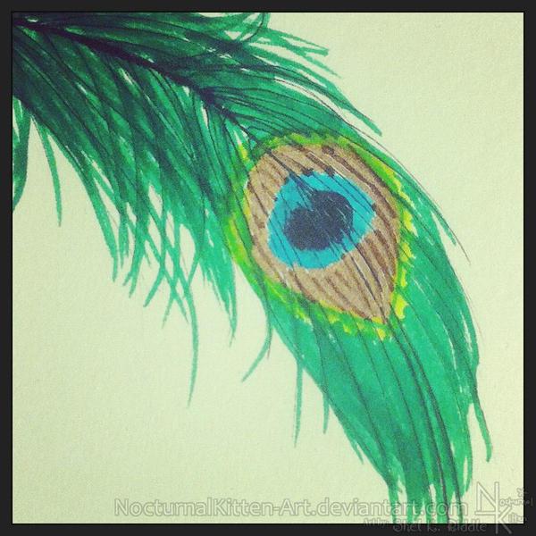 Inktober - Peacock Feather by NocturnalKitten-Art