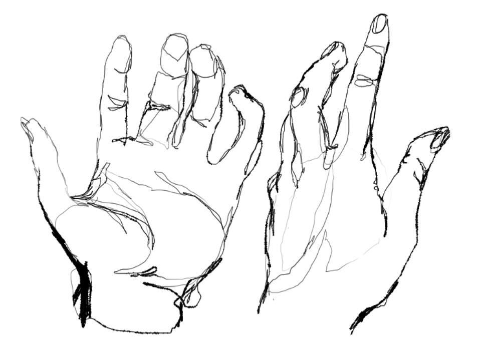 D Line Drawing Of Hand : Contour line hands by koholintsky on deviantart