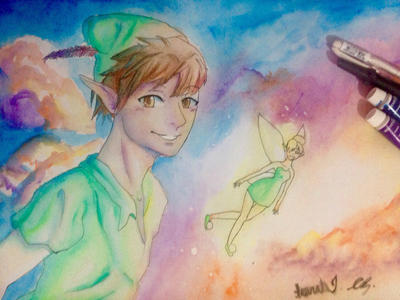 Peter and Tinkerbell  by Artquarii