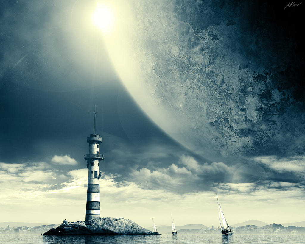 Space Lighthouse wallpaper