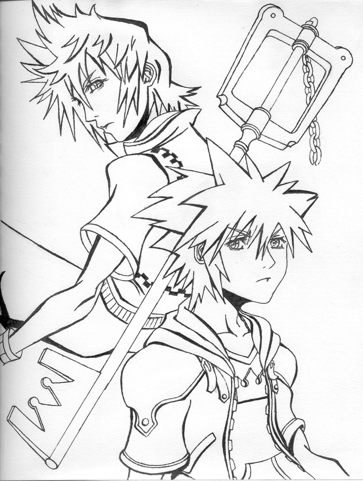 Sora Kingdom Hearts Lineart : Roxas and sora lineart by mikouyo on deviantart