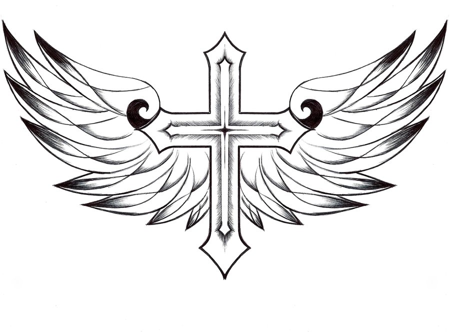 Cross and wings by FoiEspoirAmour on DeviantArt