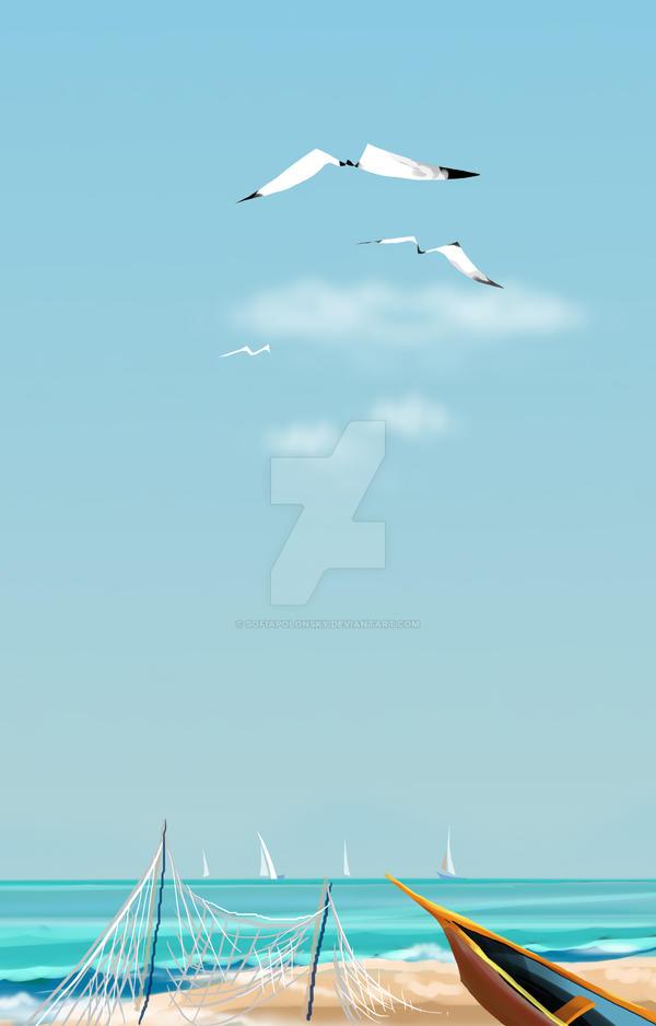 Seagulls fly. Sea beach, boat. Landscape by SofiaPolonsky