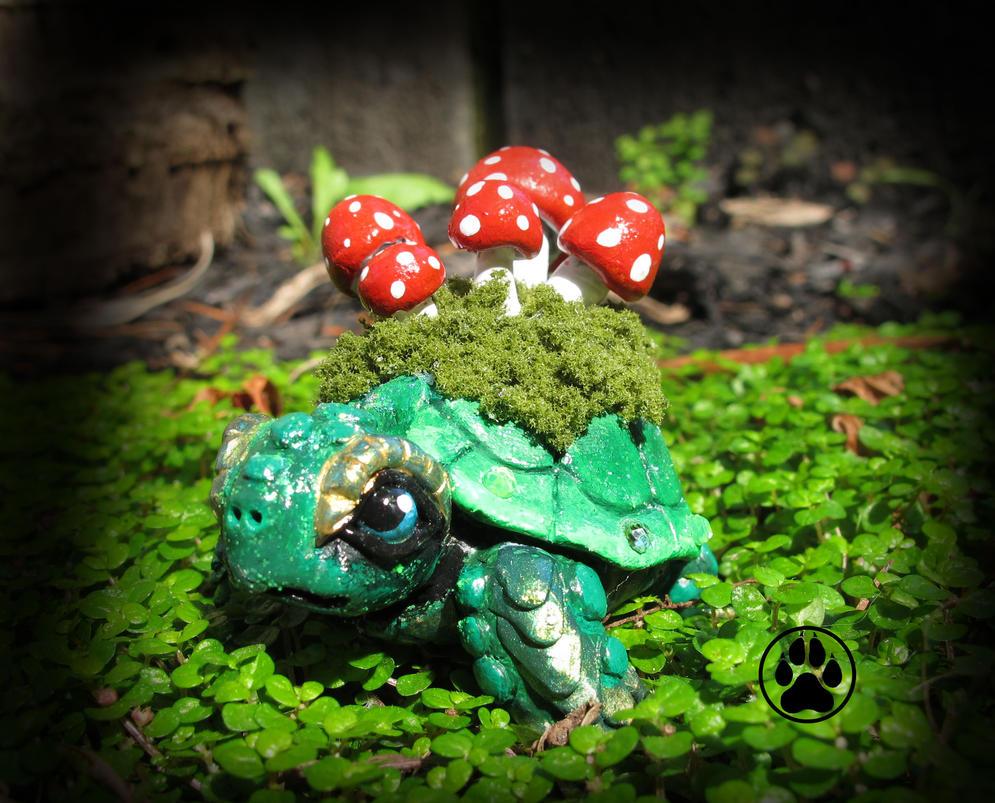 Amanita the baby mushroom keeper turtle sculpture! by CreaturesofNat