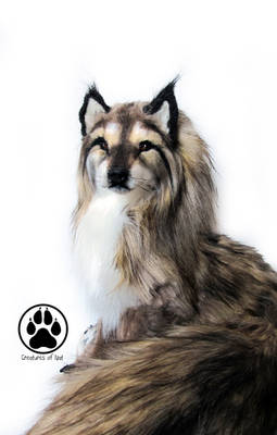SOLD Wolf commission poseable art doll OOAK!