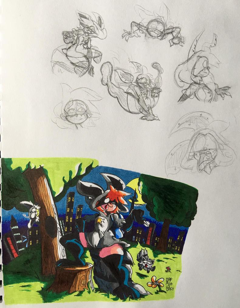 Raccoon-Girl Concept Art by TheFugitoid