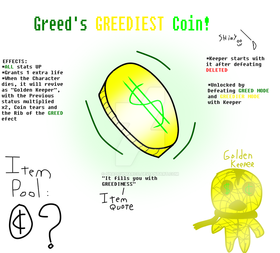 TBOI Item Idea: Greed's Greediest Coin! by ShadowMarco