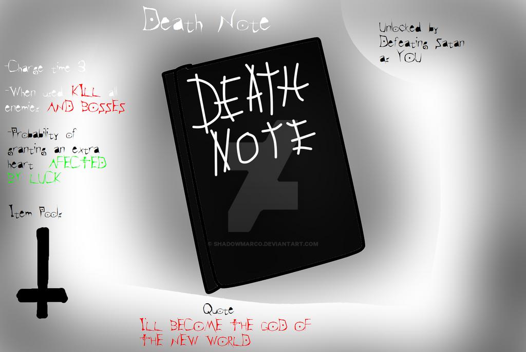 Tboi Item Idea Death Note By Shadowmarco On Deviantart