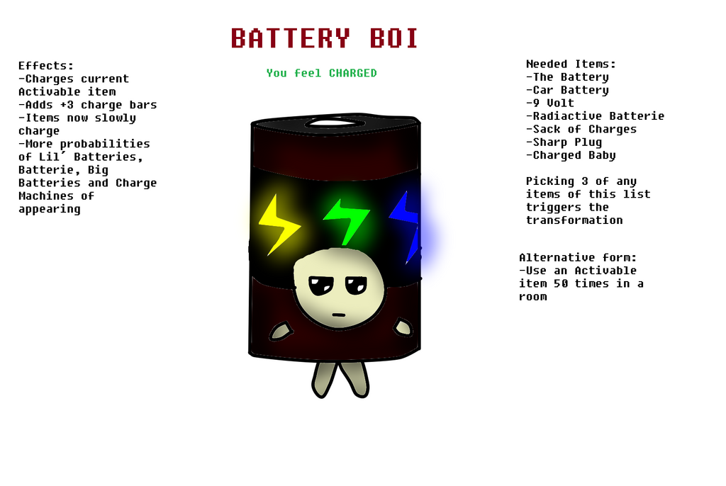 TBOI Transformation Idea: Battery Boi by ShadowMarco