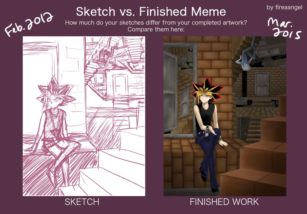 Sketch vs Finished Meme - Meikyuu by fireaangel