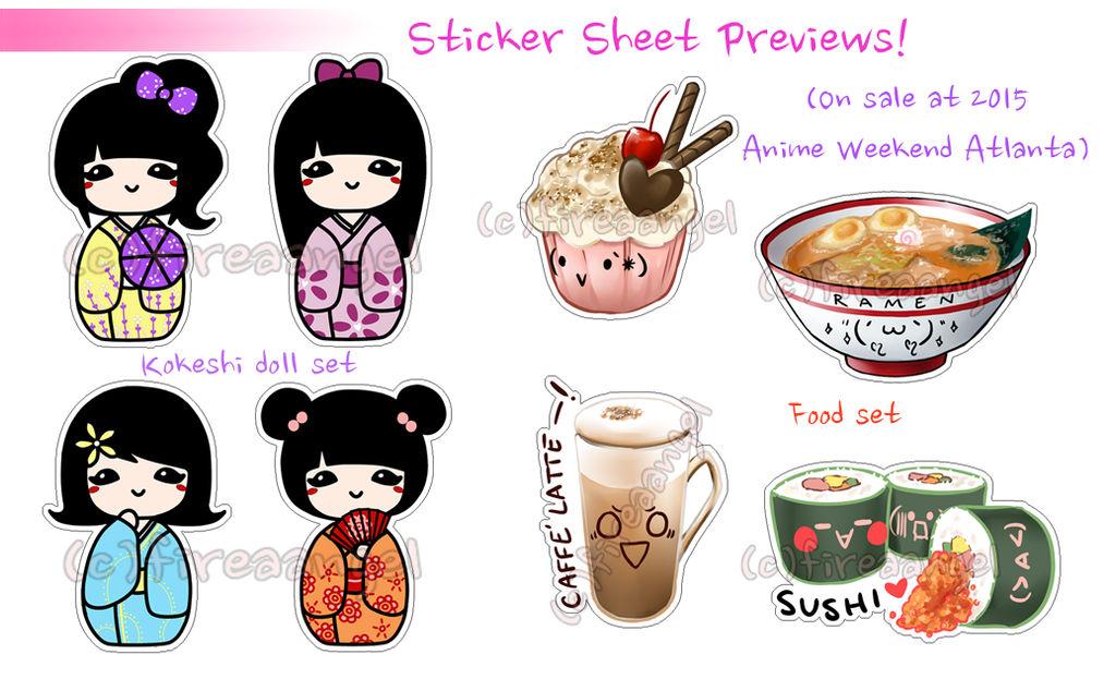 (LOW STOCK) Cute Food and Kokeshi Stickers by suishouyuki