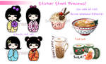 (LOW STOCK) Cute Food and Kokeshi Stickers by suishouyuki