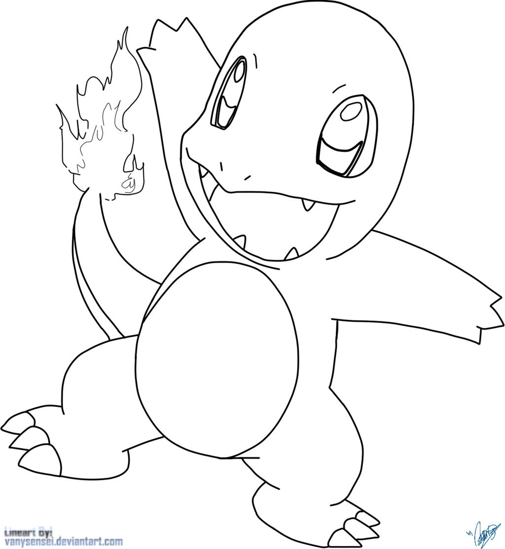 Charmander by vanysensei lineart by vanysensei on deviantart for Charmander coloring page