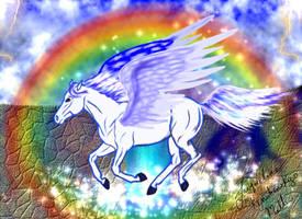 pegasus in rainbow by KenshinKyo