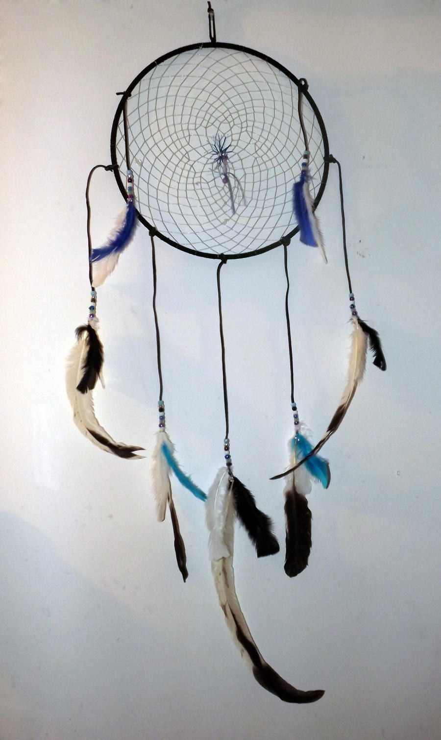 black, silver, blue and turquoise dreamcatcher by KenshinKyo