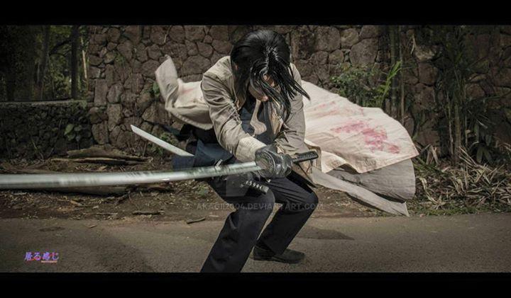Aoshi Shinomori Action shot 01 by akagii2004