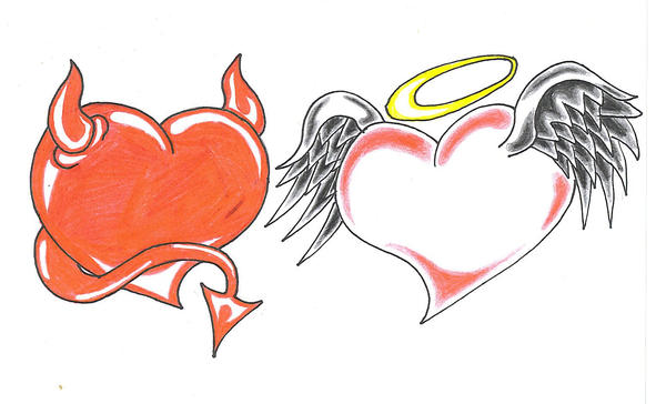 angel and devil heart by mybeautifulsickness on deviantart