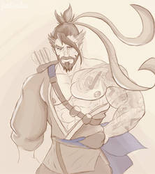 Hanzo fanart, refresh first drawing by JonDrawings